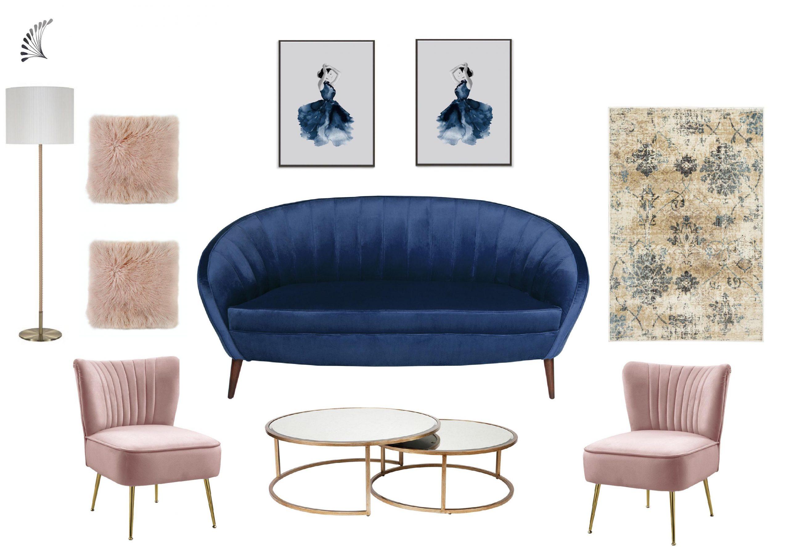Luxe living room with blue velvet sofa