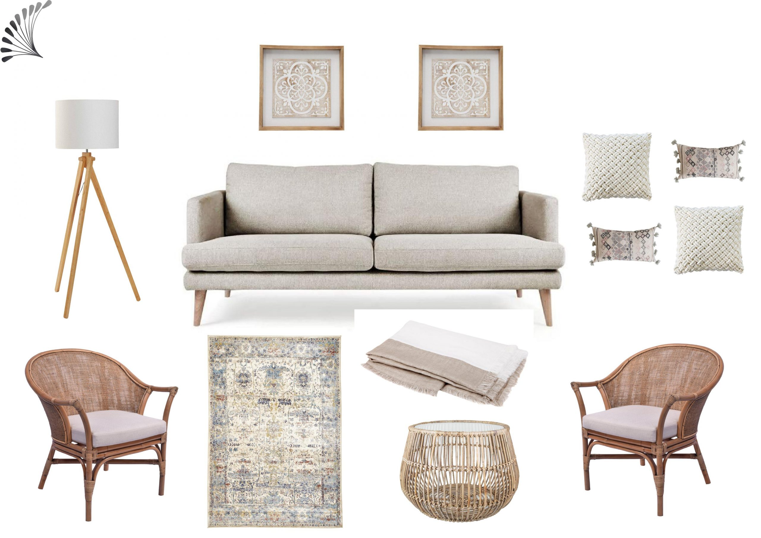 Neutral Boho Living Room Funiture Package