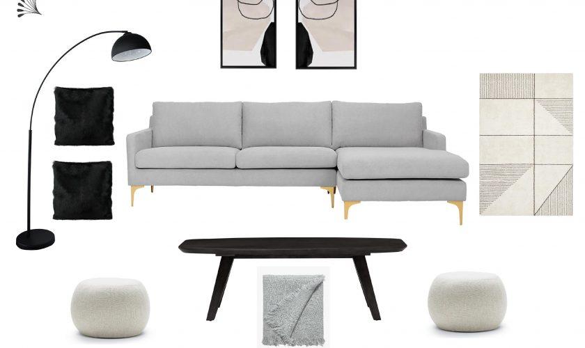 Monochrome Scandinavian Living Room Furniture Package
