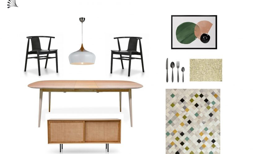 Mid-Century Modern Dining Furniture Package with Olive Accent