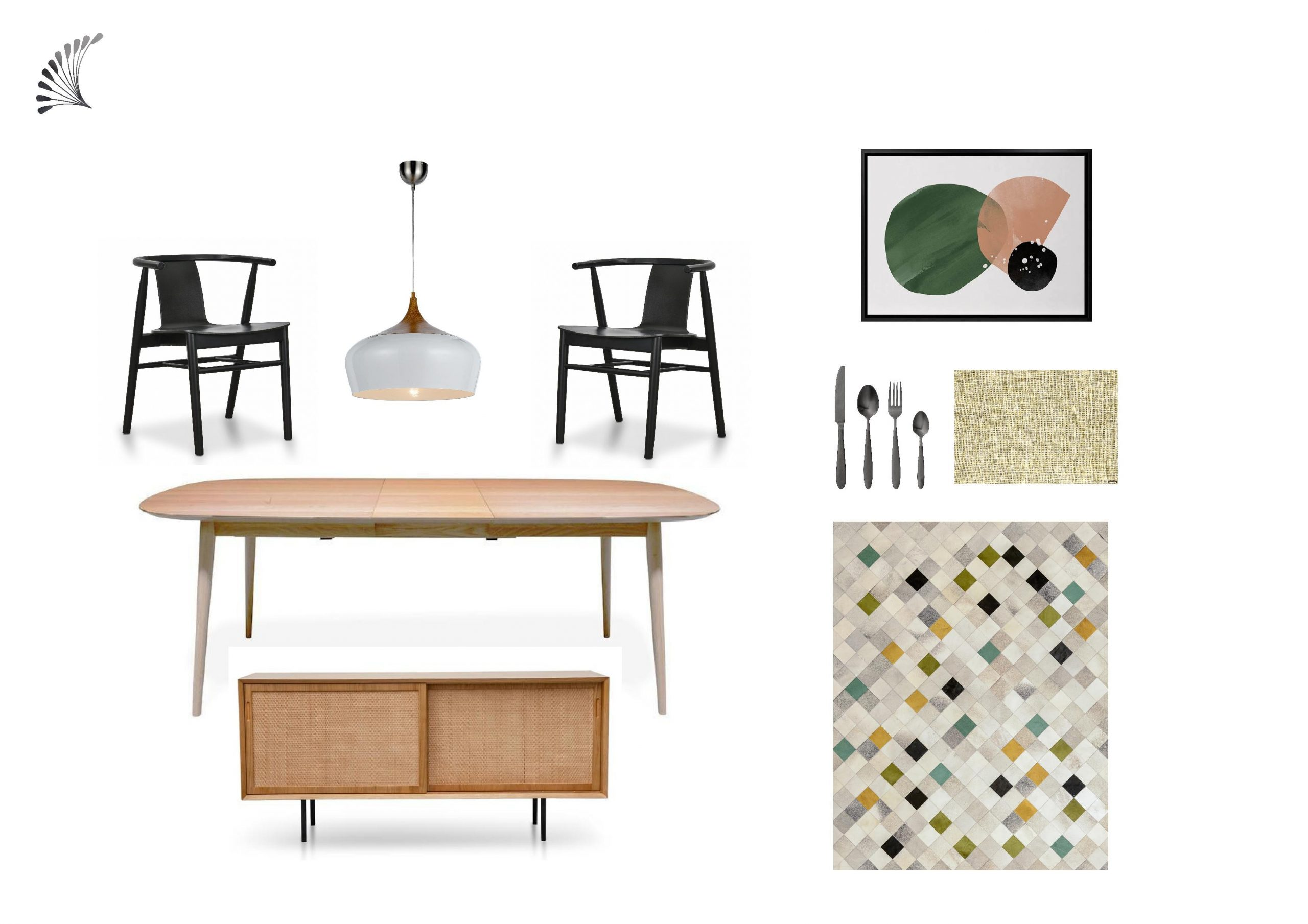Mid-Century Modern Dining with Olive Accent