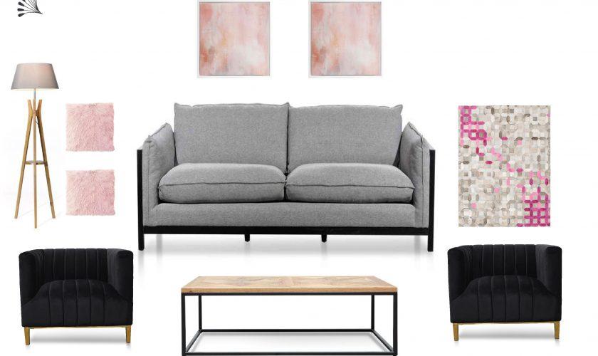Pink Industrial Living Room Furniture Package