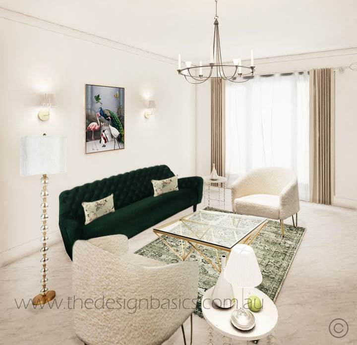 Luxe Living Room Furniture Package – Green Velvet Sofa
