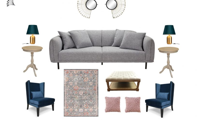 Eclectic living room with gorgeous blue accent