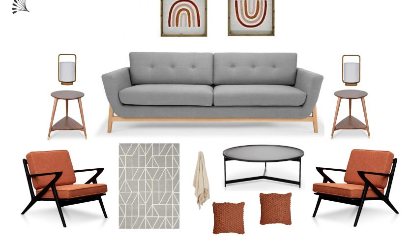 Mid-Century Modern Living room with orange accent