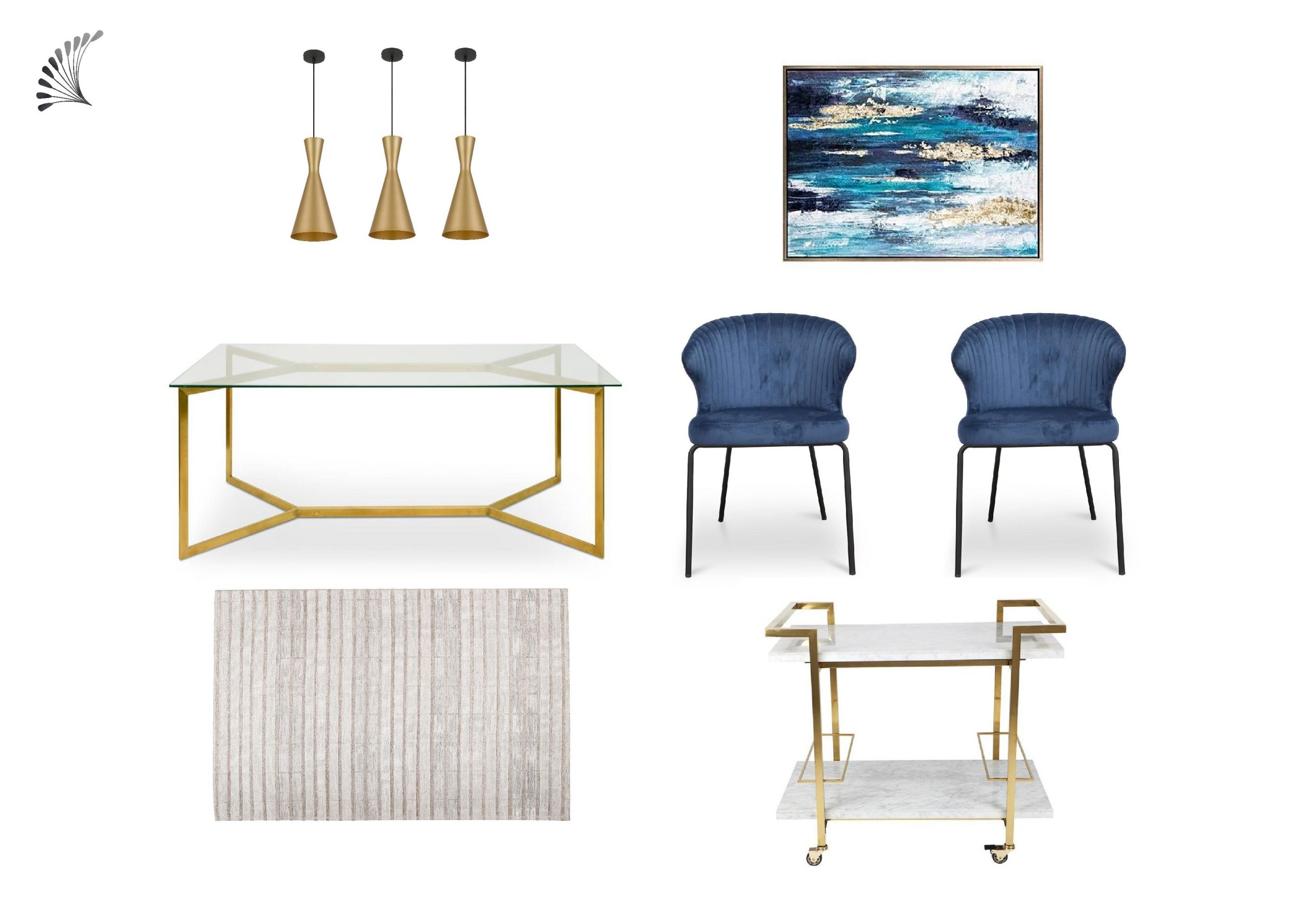 Luxe dining room with blue accent