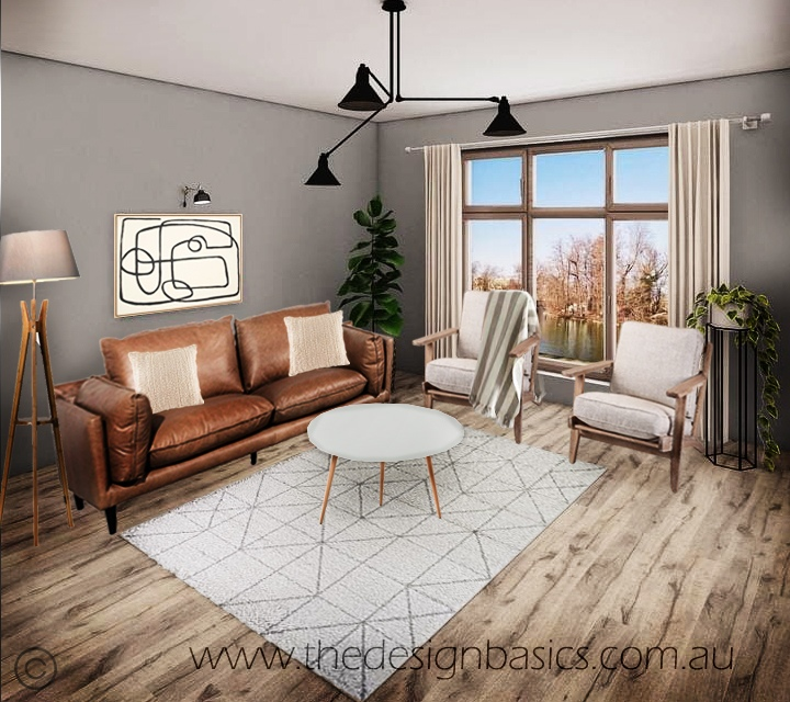 Scandinavian Living Room Furniture Package with Tan Sofa