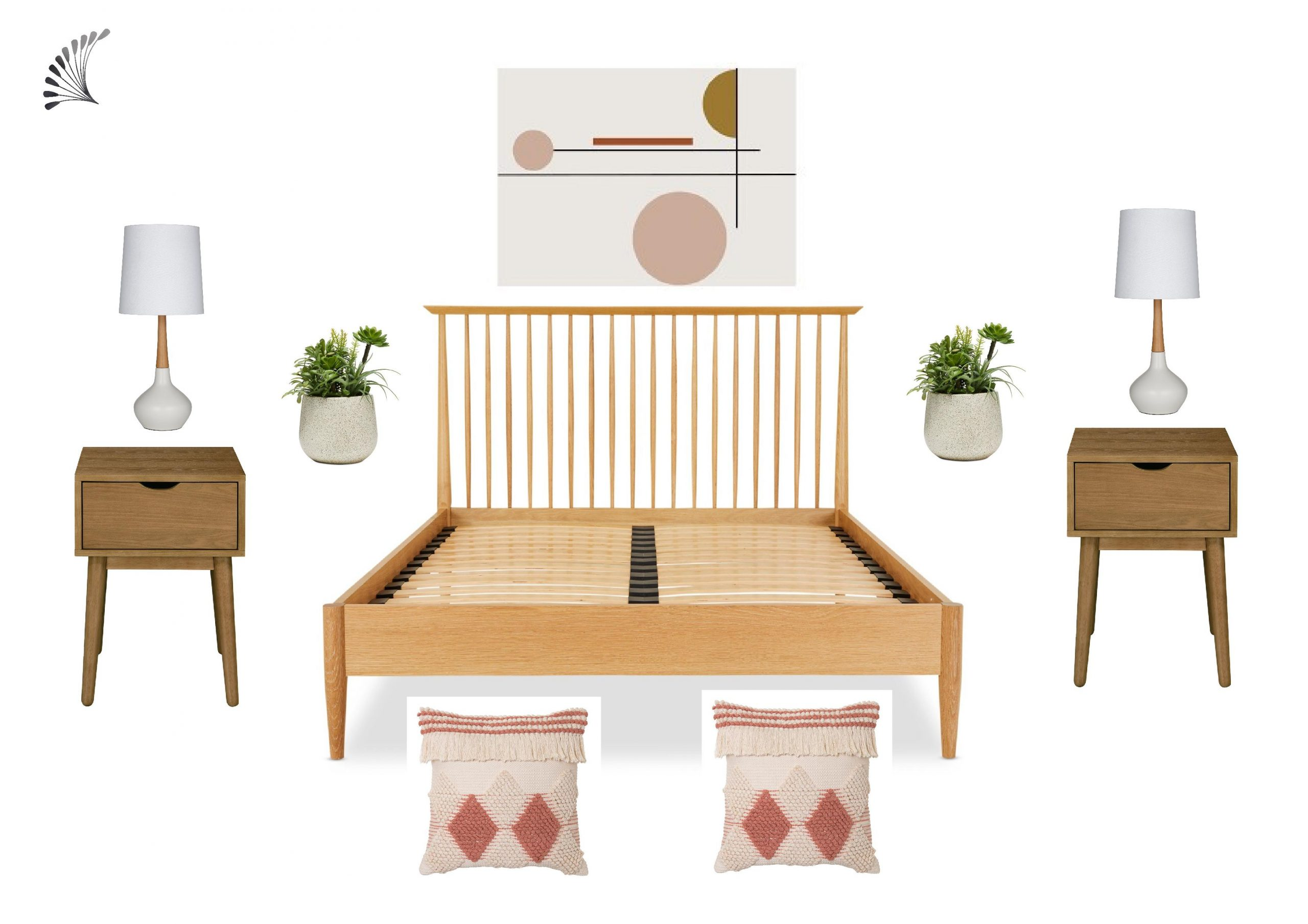 Mid-Century Modern Bedroom with Spindle Bed Frame