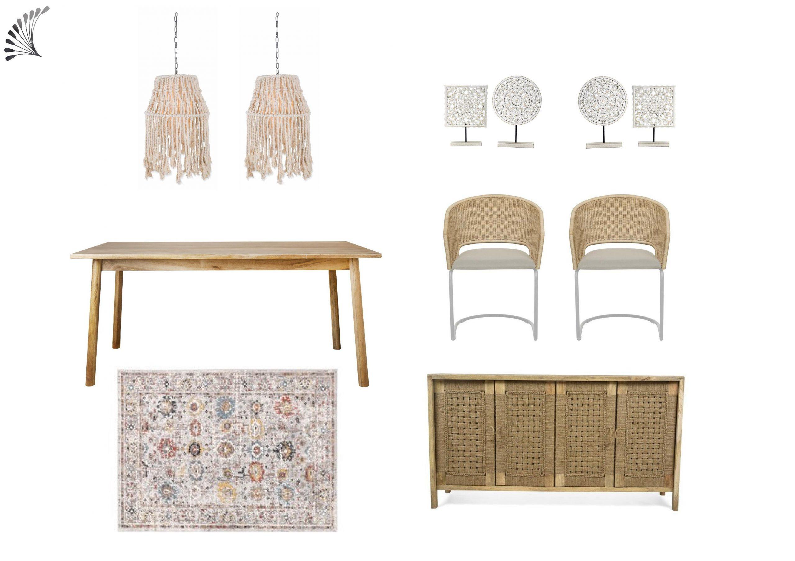 Boho Dining Room Furniture Package